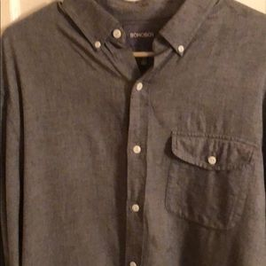 BONOBOS STANDARD FIT SIZE LARGE GRAY BUTTON DOWN